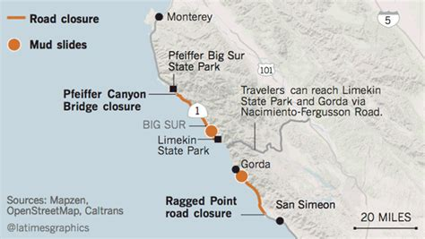 Pch Big Sur Road Closure - highway 1 closure 2017