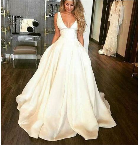 sexy ball gown wedding dresses  neck satin long