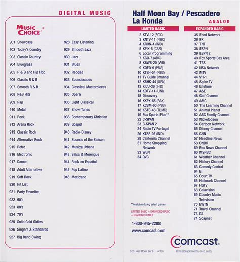 printable comcast digital channel guide comcast cable guide listing tv listings