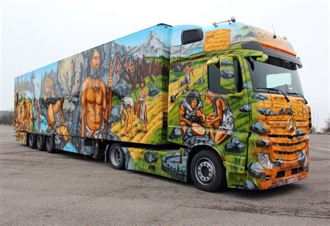 painting trucks mercedes actros 1845 belonging to freight forwarders
