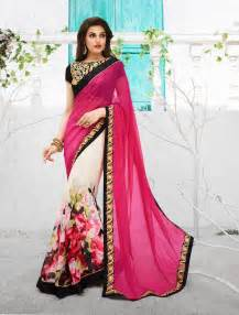 Indian saree designs with big floral patterns trendyoutlook com