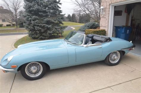 1970 jaguar xke e type series 2 ots one owner original paint cotswold blue classic jaguar e
