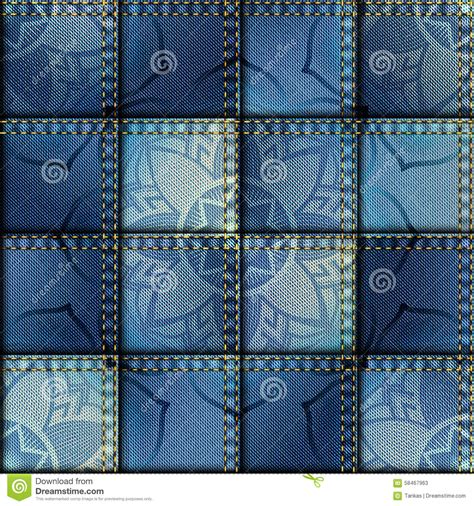 Denim Patchwork Fabric - patchwork of denim fabric stock vector image 58467963