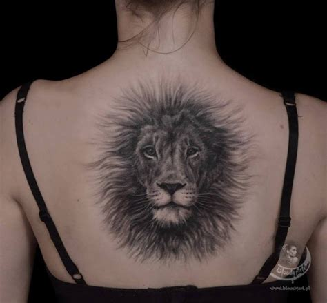 fluffy lion central back piece best tattoo design ideas
