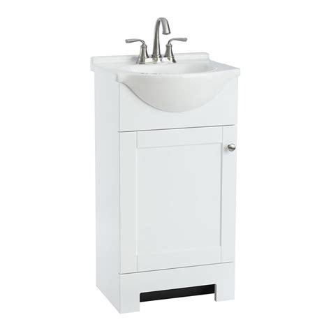 Shop Style Selections Euro White Integral Single Sink Lowes Bathroom Vanities With Sinks