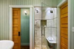 glass doors small bathroom: metro chic door less walk in shower design idea for small spaces