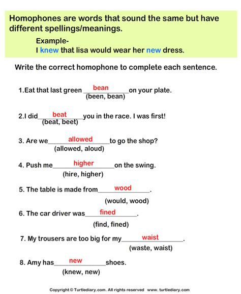 Correct The Homophones Worksheet Answers