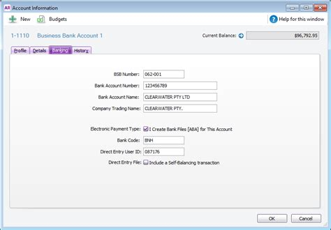 bank account details 1 record your bank account details myob accountright
