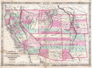 file 1864 johnson map of california nevada utah arizona