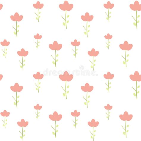 cute easy pattern cute little pink flower on white background simple minimal