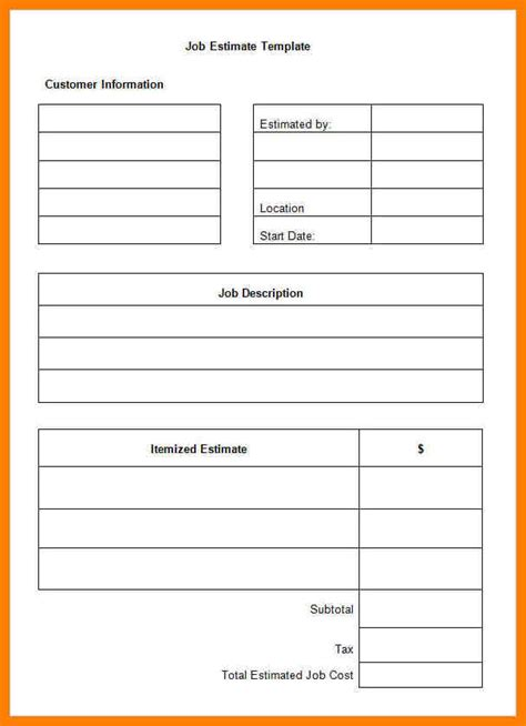 free estimate template 5 free estimate template pdf lease template