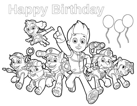 Paw Patrol Happy Birthday Coloring Page | paw patrol birthday happy birthday coloring page paw