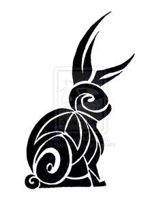 tribal bunny by synviver on calligraphy for the year of rabbit by yienkeat