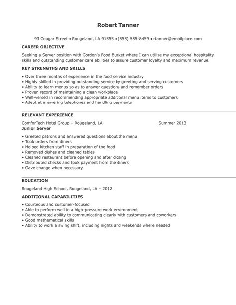 sle resume for banquet server sle waiter resume 6