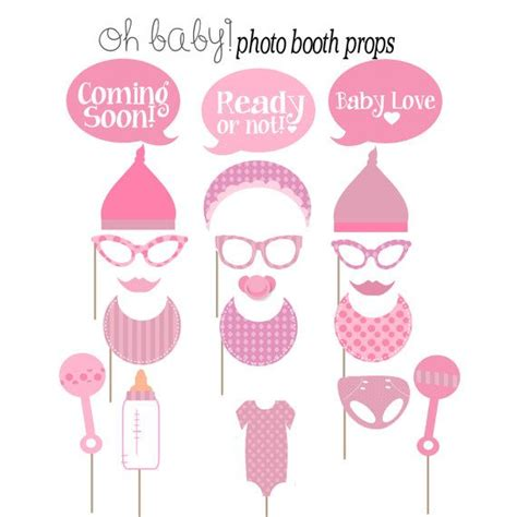 baby girl photo booth props printable printable baby shower photobooth props https www etsy