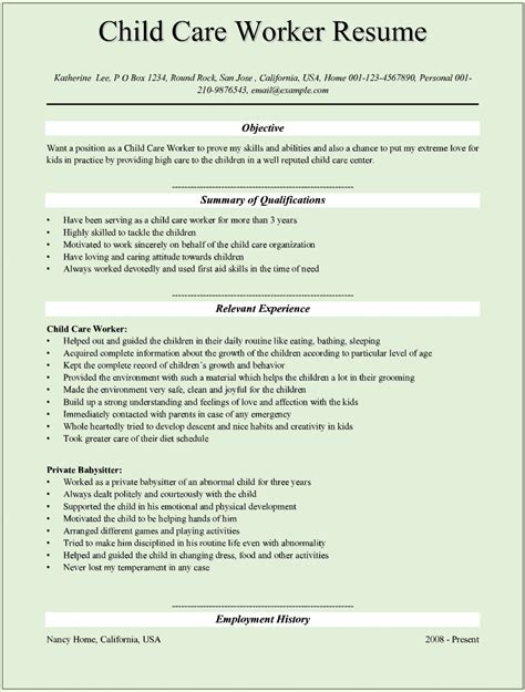 child care worker sle resume sle child care worker resumes for microsoft word doc