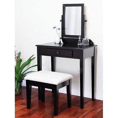 espresso vanity set with bench makeup vanity set table stool drawer bedroom furniture