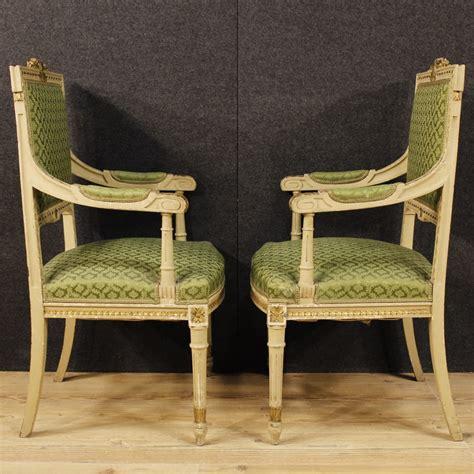 poltrone stile antico coppia poltrone sedie salotto mobili italiani laccati