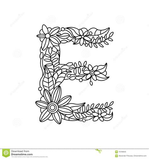 Letter E Coloring Book For Adults Vector Stock Vector Coloriage Alphabet Tag A Imprimer L