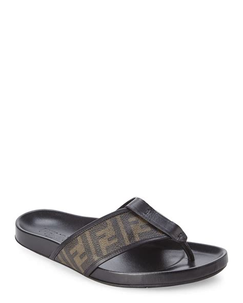 fendi sandals mens fendi tobacco black zucca sandals in black for