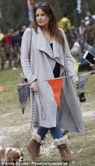 Gangster Laid Back Glam In Shades Of Grey by Binky Felstead Kisses Josh Patterson On Tough Mudder