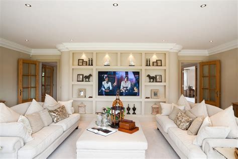 elegant wall shelves living room transitional with
