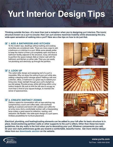 interior design techniques lofty ideas checklist pacific yurts