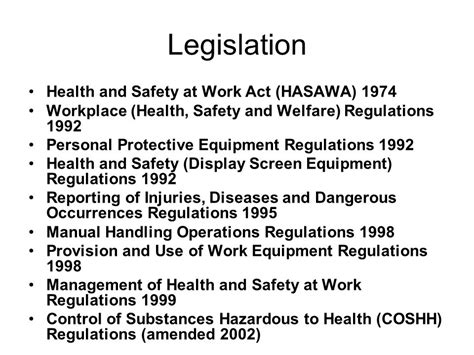 health and safety at work act 1974 section 2 12 health and safety legislation ppt download