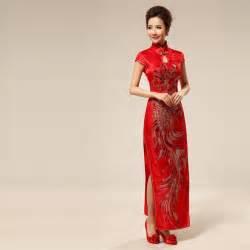 Long qipao chinese red cheongsam bridal wedding dress modern qipao