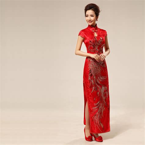 traditional chinese cheongsam dresses traditional brocade embroidered phoenix long qipao chinese
