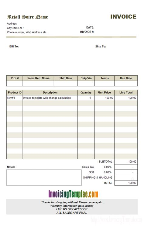 tax invoice template india