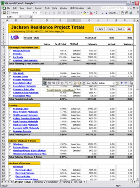microsoft excel estimate template uda construction office 2003 estimating screenshots