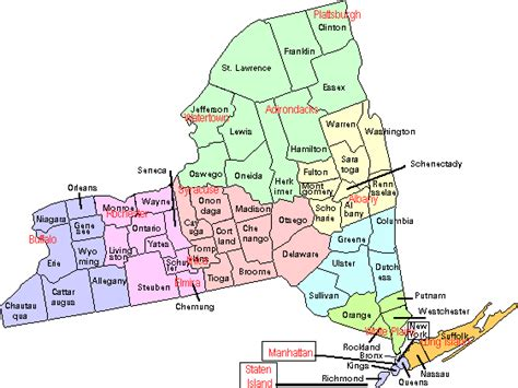 map of upstate new york counties new york map
