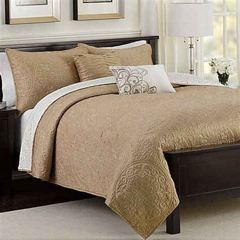 bed bath beyond quilts medallion reversible quilt set in taupe bed bath beyond