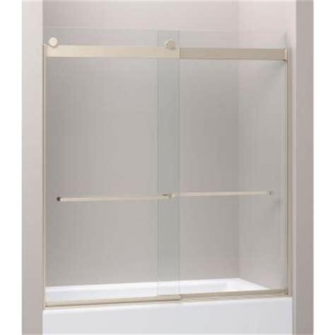 Kohler Sliding Glass Shower Doors Kohler Levity 28 1 8 In X 62 In Heavy Frameless Front Sliding Shower Door With Glass Panel In
