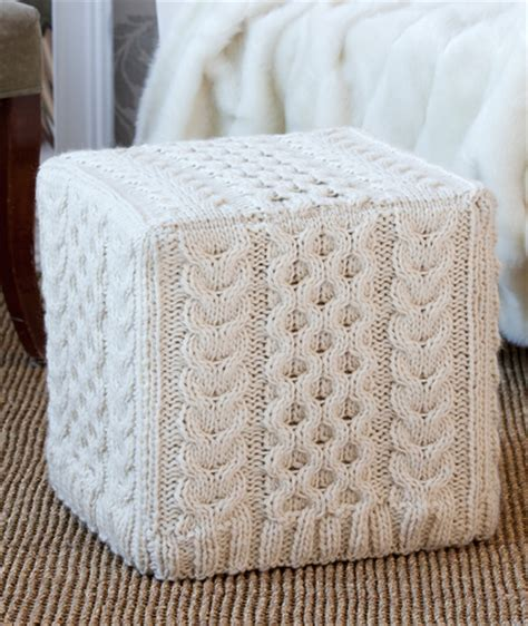 ottoman cover pattern cabled ottoman cover knitting pattern red heart