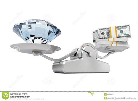 el gigante que ley diamante gigante con el dinero que equilibra en una escala simple de la carga stock de