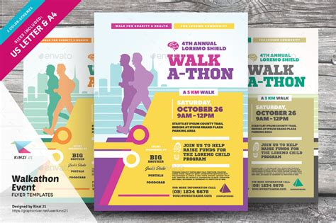 walk a thon card template walkathon event flyer templates by kinzi21 graphicriver