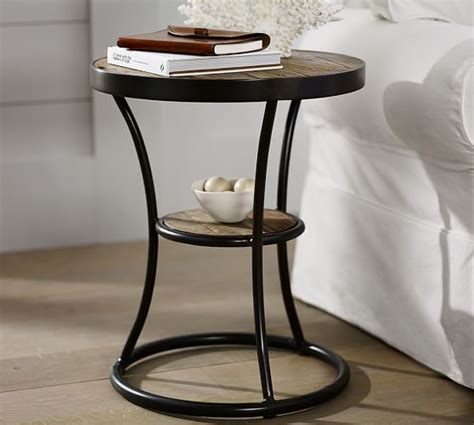 wood and metal side table bartlett reclaimed wood metal side table pottery barn