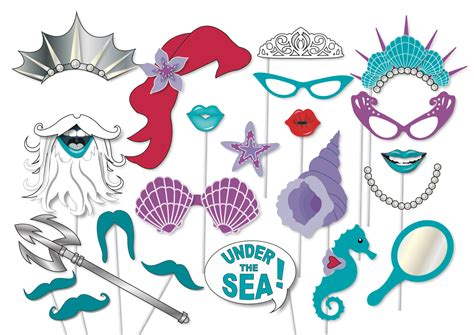 free printable under the sea photo booth props mermaid party photo booth props printable under the sea