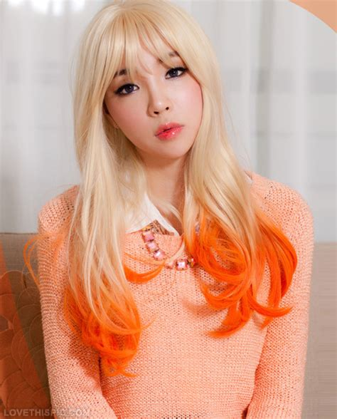 dyed blonde hairstyles dip dyed blonde hair with orange tips pictures photos