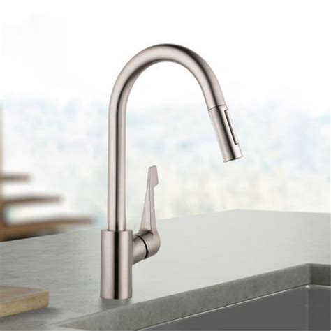 hans grohe kitchen faucet hansgrohe cento kitchen faucet solid brass steel optik finish ebay