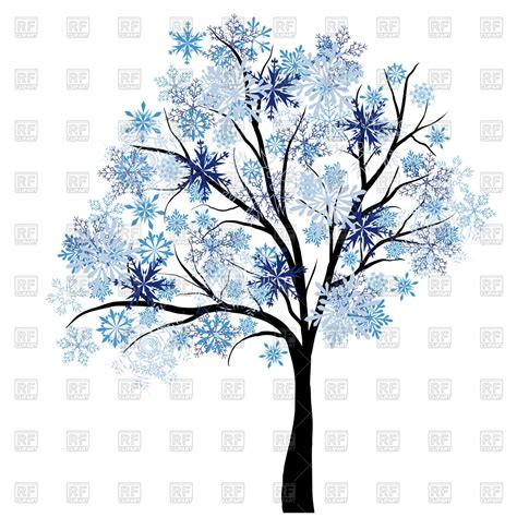 winter tree from snowflakes by the vector colourbox beautiful winter tree with snowflakes leaves vector illustration of plants and animals 169 angelp