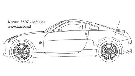nissan 350z drawing autocad drawing nissan 350z sports car left side dwg
