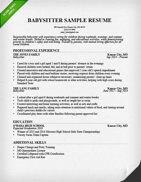 Resume Exles Babysitting Resume Exle Writing Guide Resume Genius