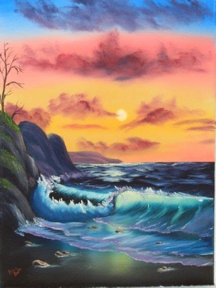 bob ross painting classes seattle quot by the sea quot by bob ross based on the of painting
