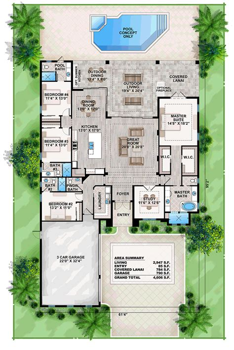 Florida Home Plans by Coastal Contemporary Florida Mediterranean House Plan