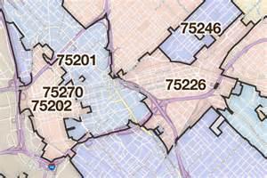 dallas printable u s zip code boundary maps