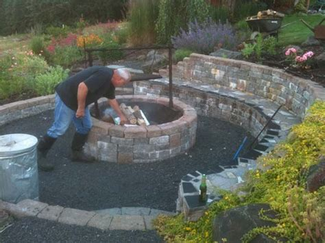 how to build a pit with retaining wall blocks great idea pit area built into hillside retaining