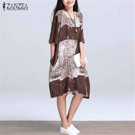 Casual Print Dresses From Ruche by 2016 Summer Zanzea Cotton Linen Print Dress Casual